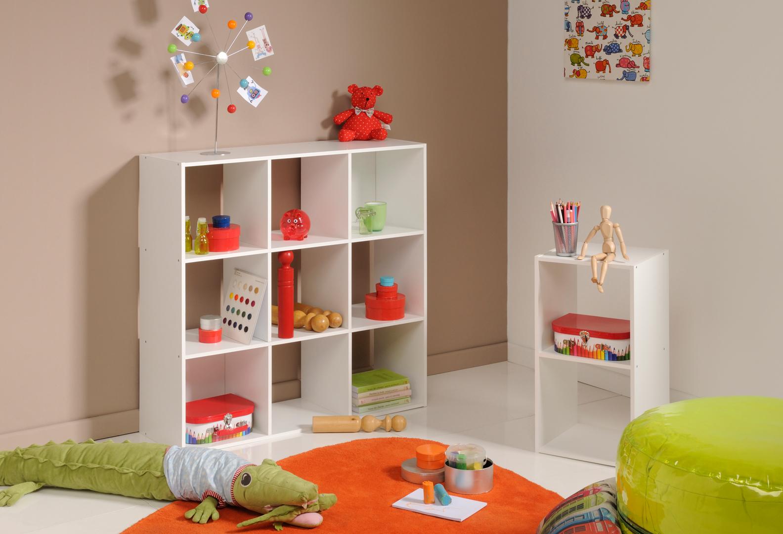 meuble de rangement 9 compartiments blanc lilicube matelpro. Black Bedroom Furniture Sets. Home Design Ideas