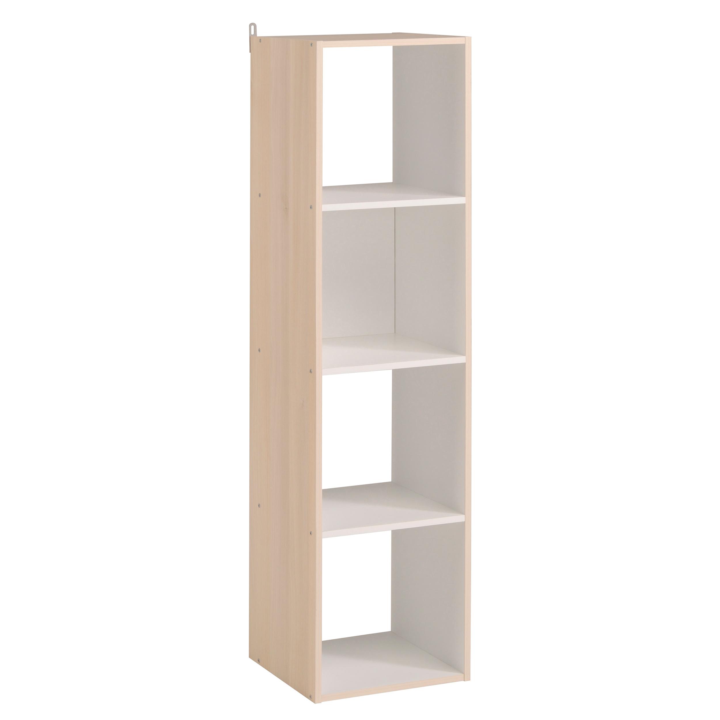 00001f7b6f861 Colonne de rangement 4 compartiments blanche/acacia Lilicube | Matelpro