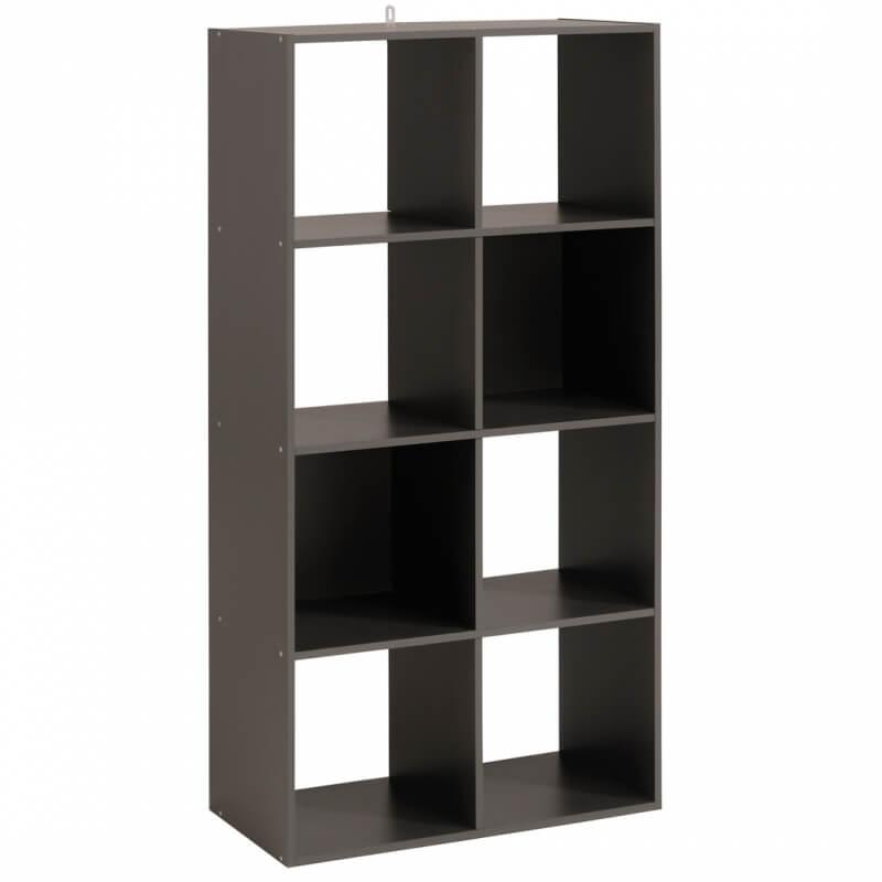 Meuble de rangement 8 compartiments gris ombre lilicube matelpro - Meuble de rangement gris ...