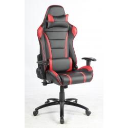 Fauteuil de bureau design en PU noir/rouge Lison