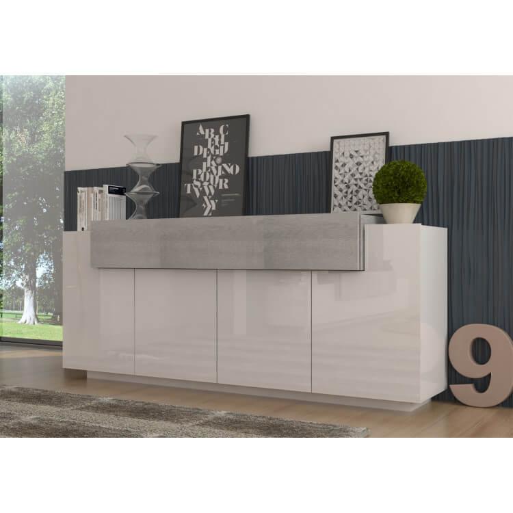 Buffet/bahut design blanc laqué/chêne gris Melusa
