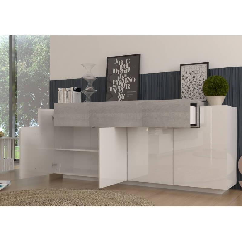 buffet bahut design blanc laqu ch ne gris melusa matelpro. Black Bedroom Furniture Sets. Home Design Ideas
