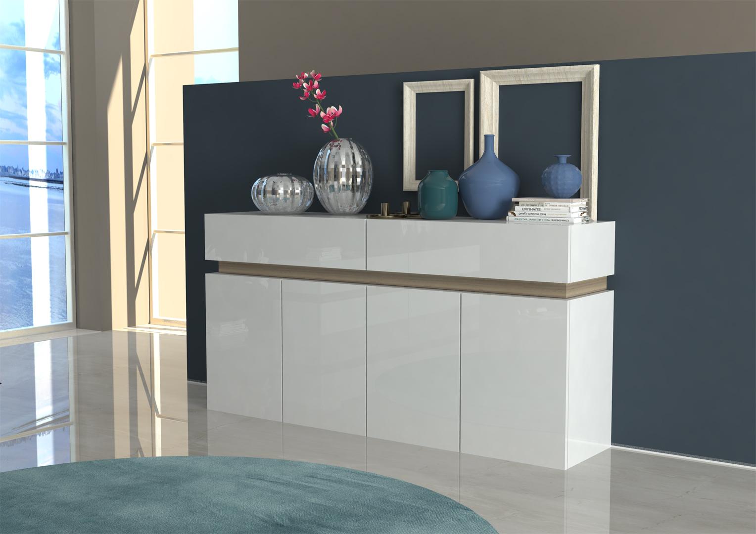 Buffet/bahut design blanc laqué/chêne clair Asia