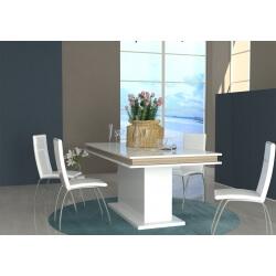 Table de salle à manger design extensible blanc laqué/chêne clair Asia