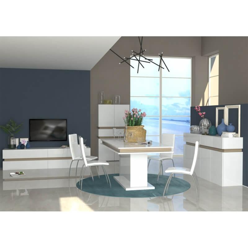 table de salle manger design extensible blanc laqu. Black Bedroom Furniture Sets. Home Design Ideas