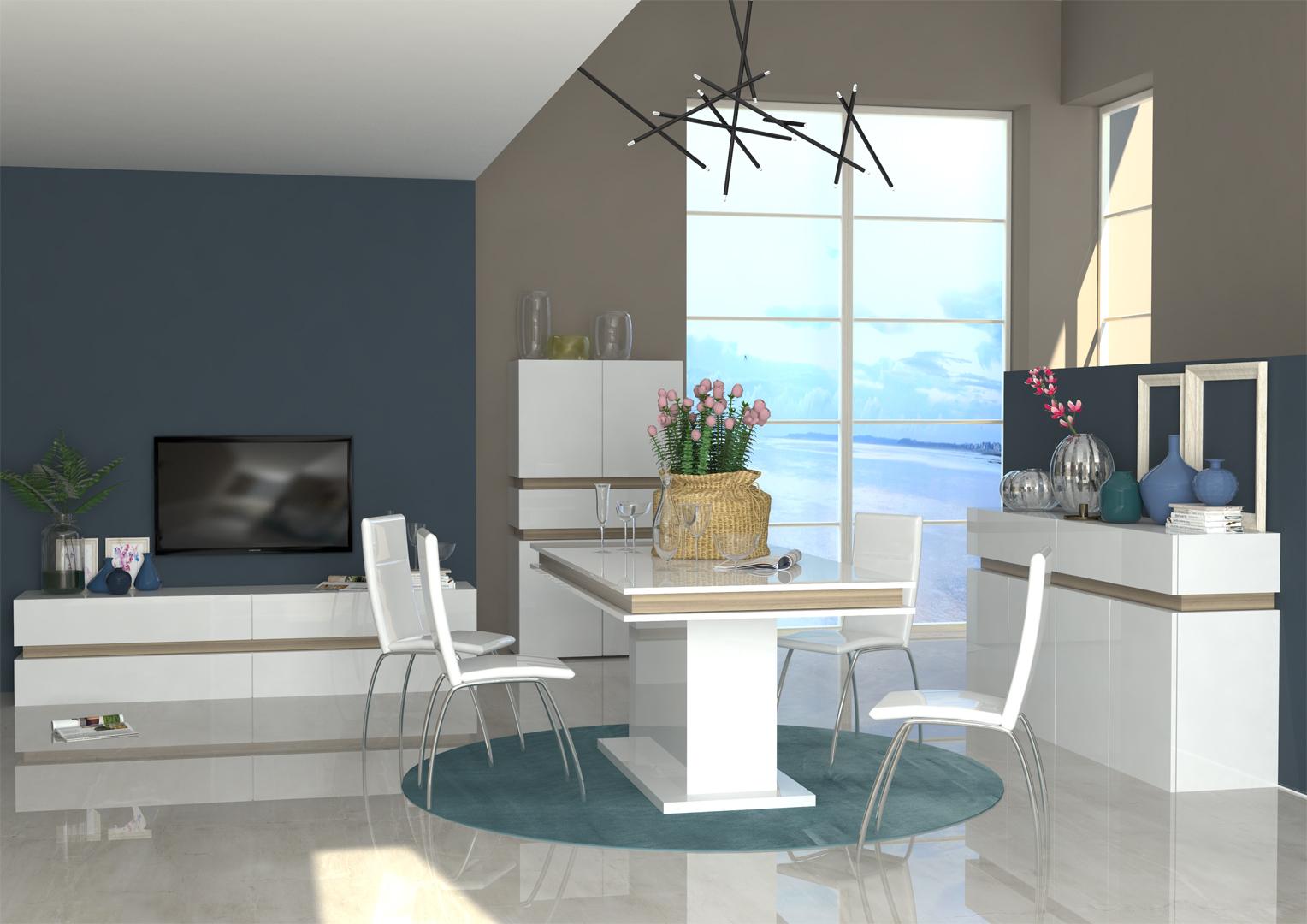 Table de salle manger design extensible blanc laqu - Table salle a manger design blanc laque ...
