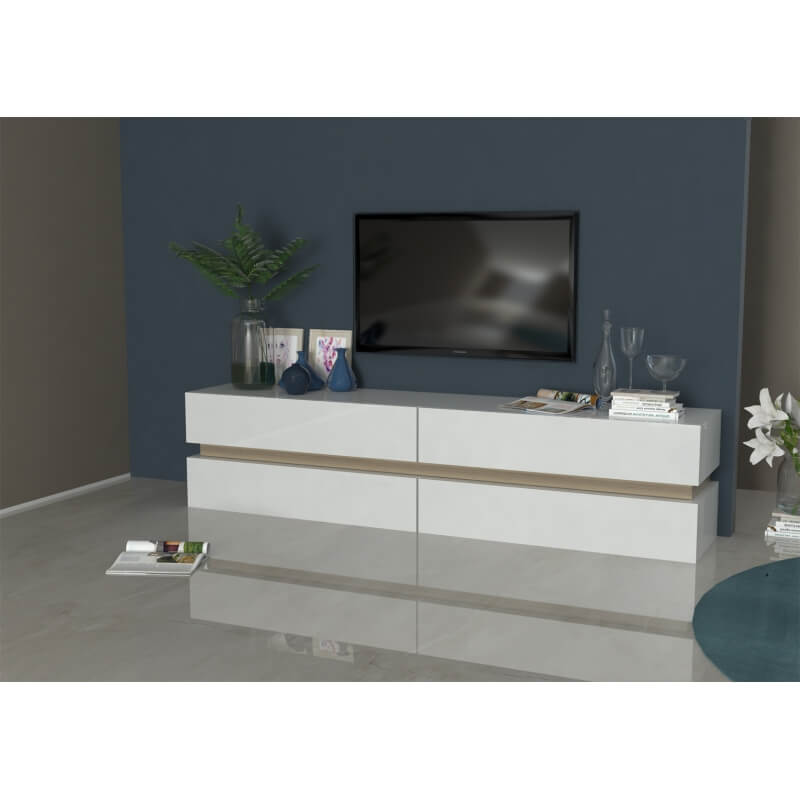 meuble tv design blanc laqu ch ne clair asia. Black Bedroom Furniture Sets. Home Design Ideas