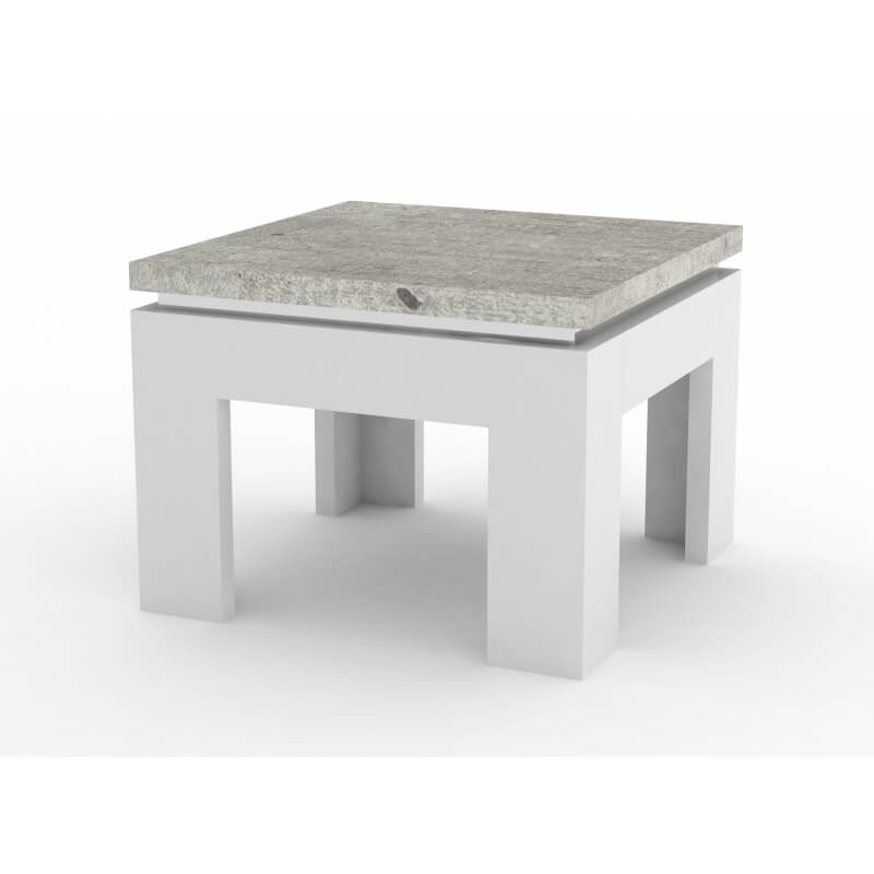 table basse design carr e blanc laqu d cor ciment ginko. Black Bedroom Furniture Sets. Home Design Ideas