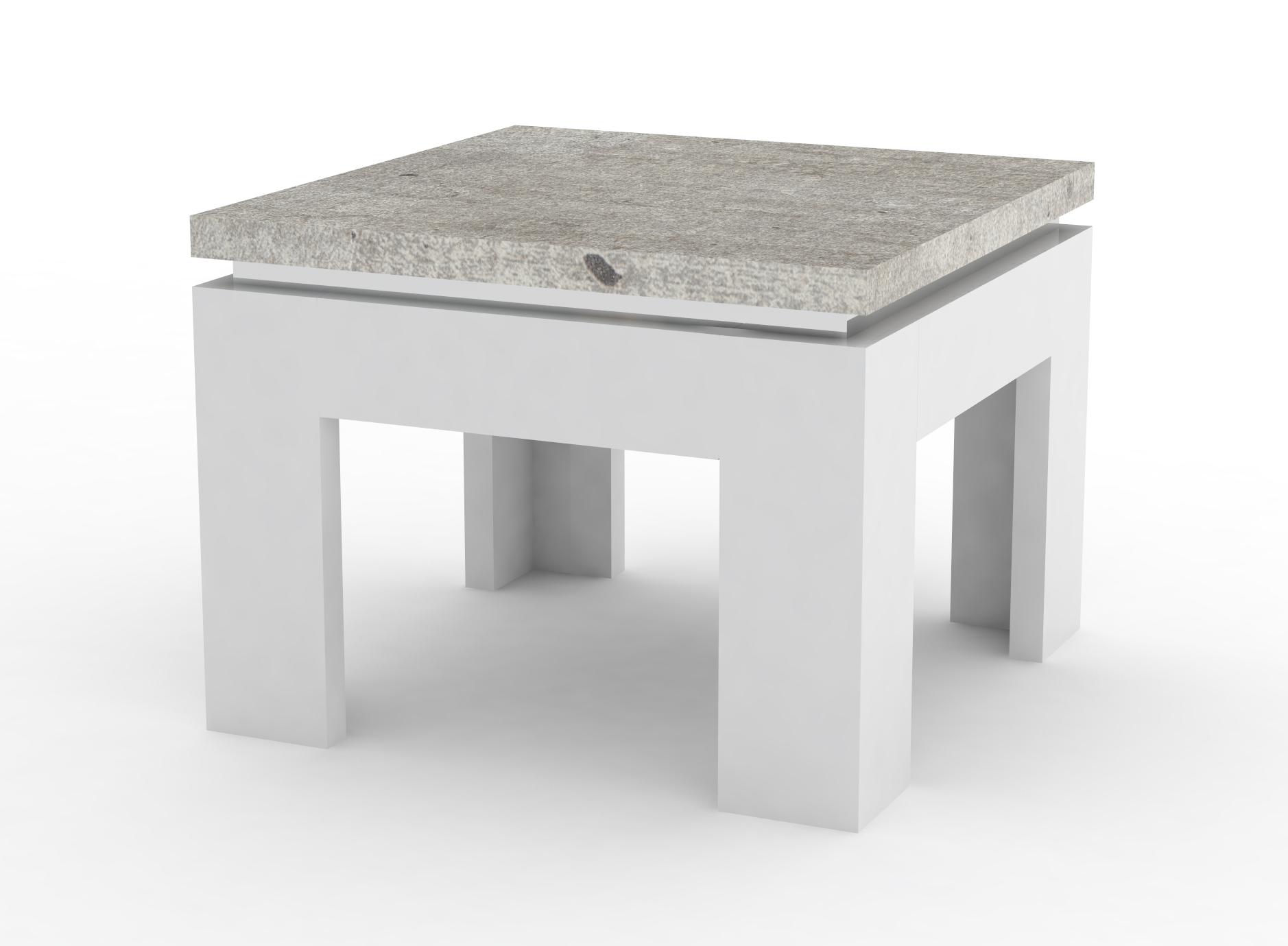 Table Basse Design Carree Blanc Laque Decor Ciment Ginko