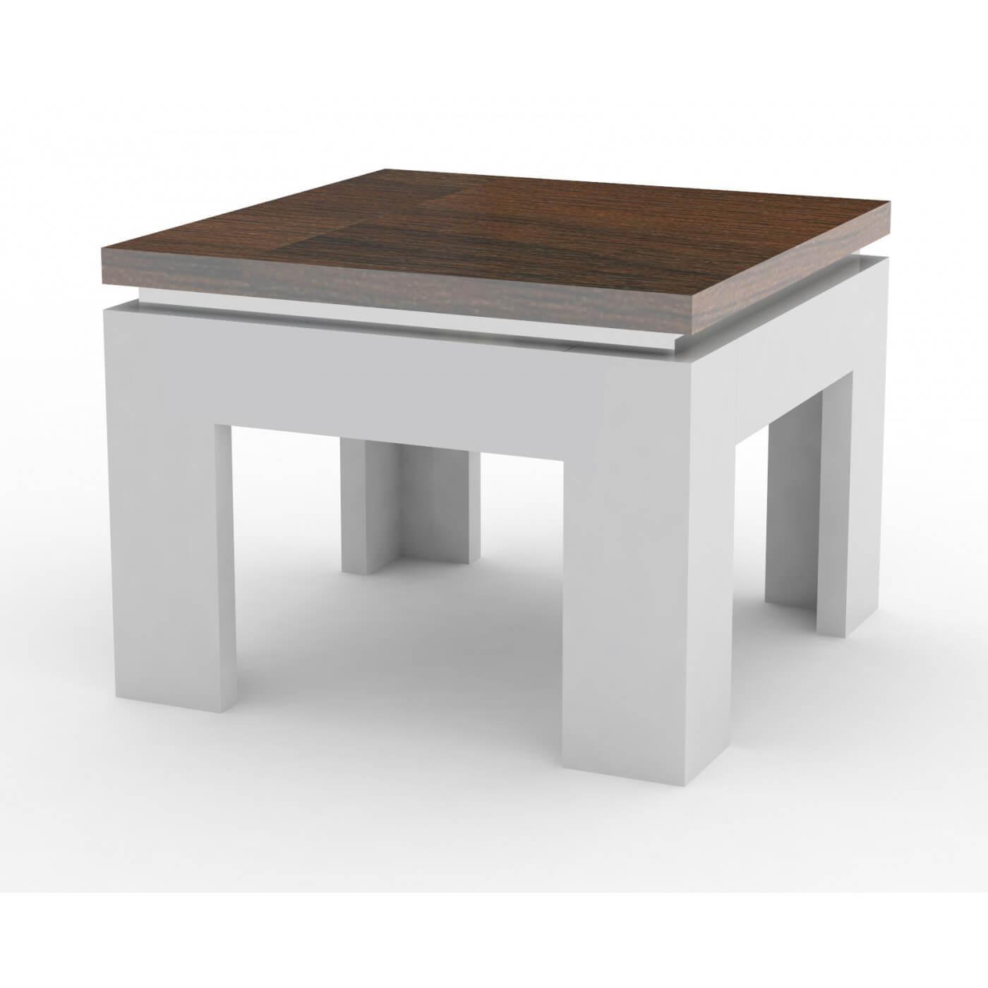 Laquédécor Blanc Noyer Table Basse Carrée Design Ginko qSzMpjVGUL