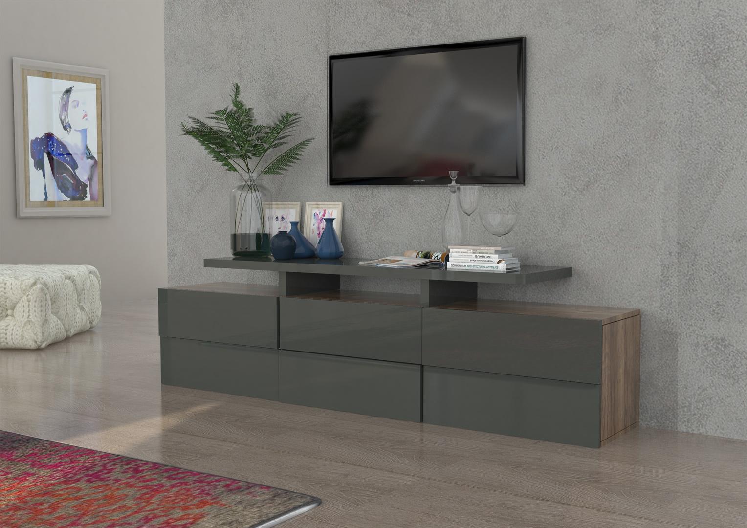 meuble tv design gris laqu ch ne bamako matelpro. Black Bedroom Furniture Sets. Home Design Ideas
