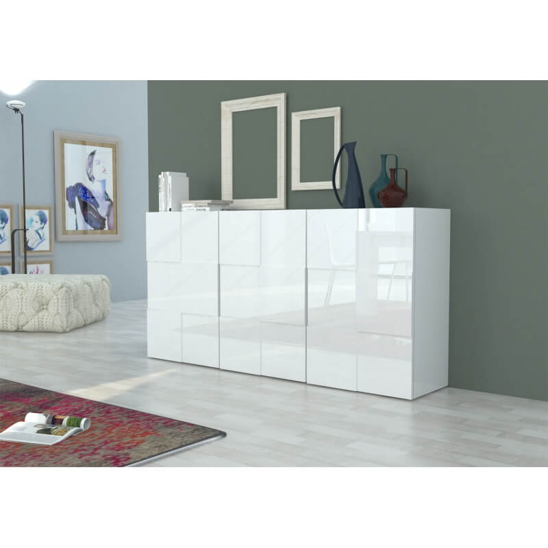 buffet bahut design blanc laqu 180 cm bamako matelpro. Black Bedroom Furniture Sets. Home Design Ideas