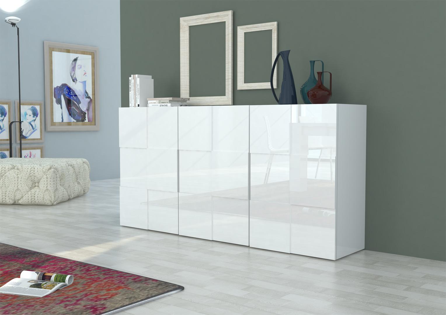 Buffet Bahut Design Blanc Laque 180 Cm Bamako