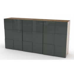 Buffet/bahut design gris laqué/chêne 180 cm Bamako