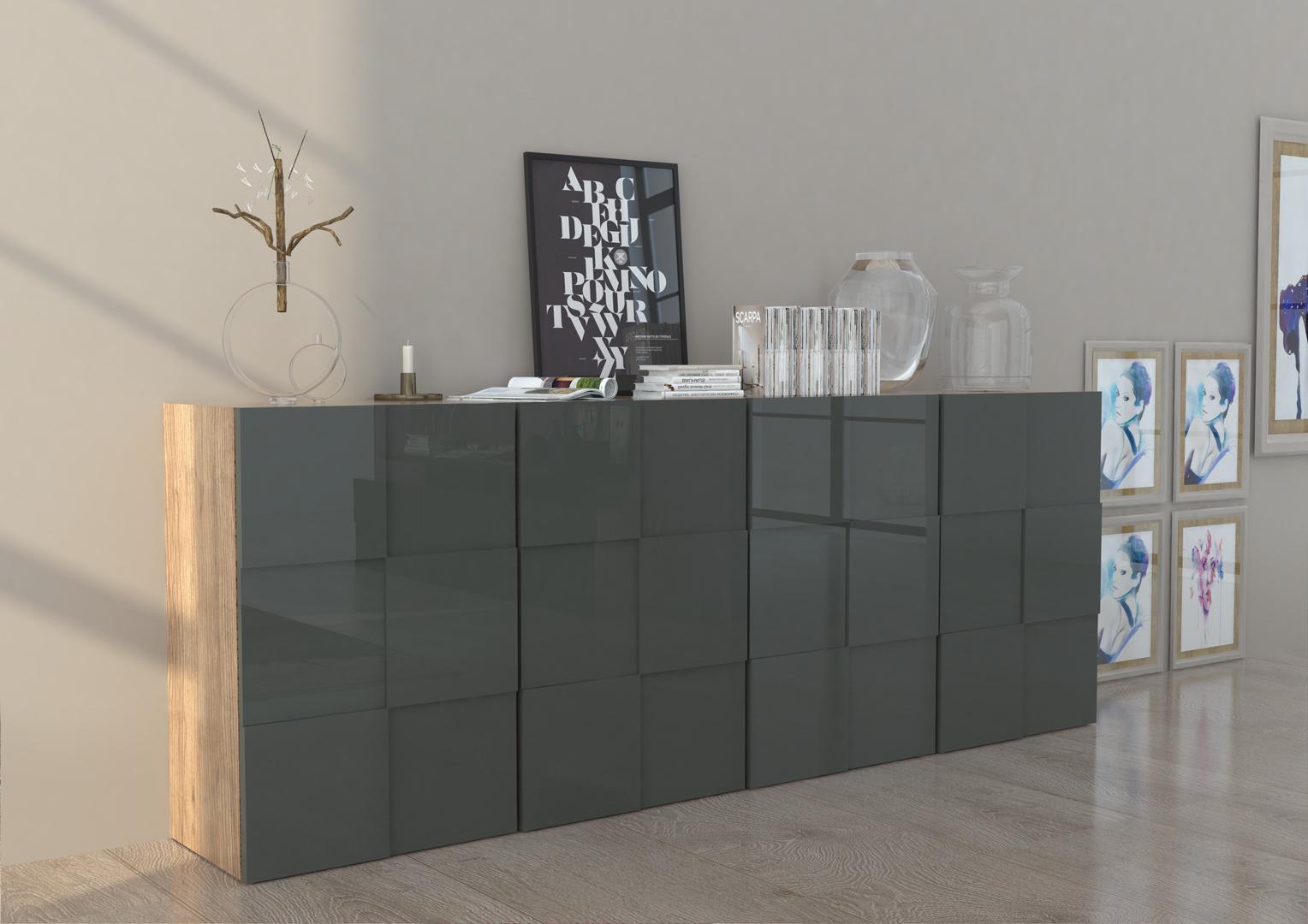 Buffet/bahut design gris laqué/chêne 240 cm Bamako | Matelpro