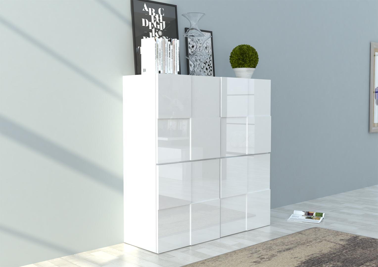 Meuble De Rangement Design Blanc Laque Bamako
