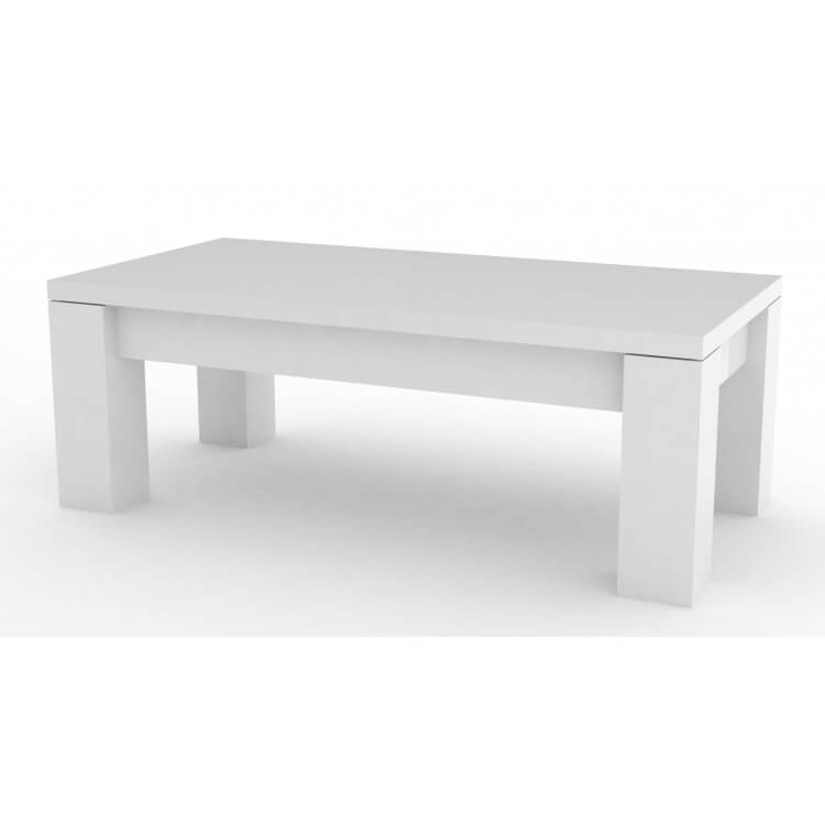Table basse design rectangulaire laquée blanche Bamako