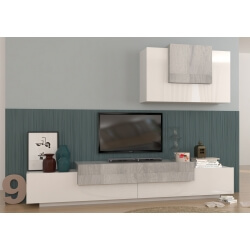 Ensemble TV mural design blanc laqué/chêne gris Tongo