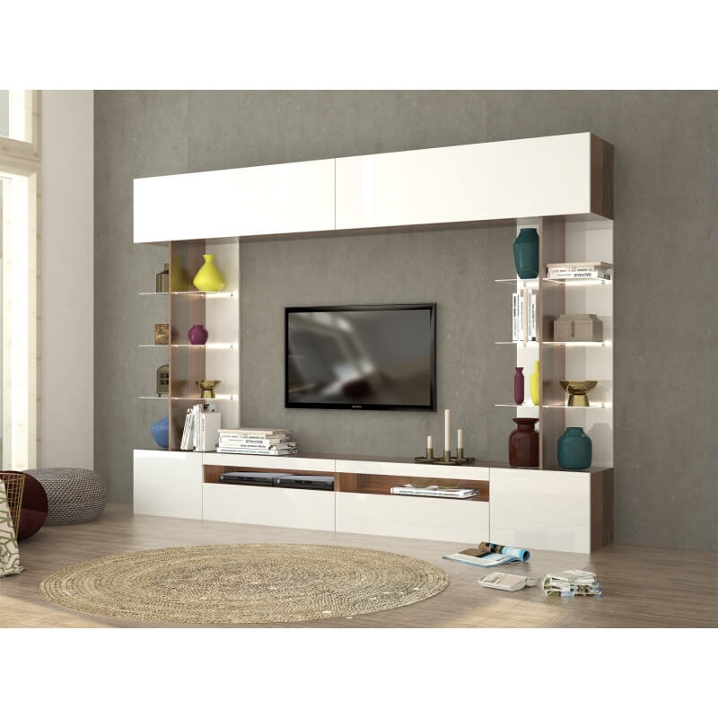 banc tv mural design blanc laqu noyer galileo. Black Bedroom Furniture Sets. Home Design Ideas