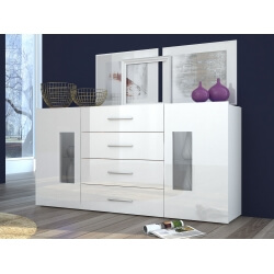 Buffet/bahut design laqué blanc 160 cm Adilah