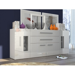Buffet/bahut design laqué blanc 200 cm Adilah
