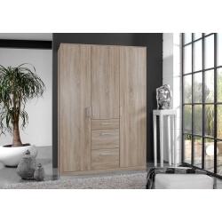Armoire adulte contemporaine 3 portes/3 tiroirs décor chêne Costa
