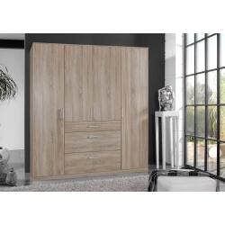 Armoire adulte contemporaine 4 portes/3 tiroirs décor chêne Costa