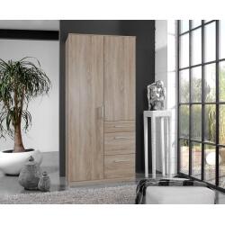 Armoire adulte contemporaine 2 portes/3 tiroirs décor chêne Costa