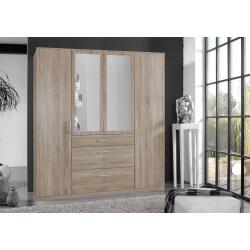 Armoire adulte contemporaine 4 portes/3 tiroirs décor chêne/lave Brenda