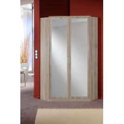 Armoire adulte contemporaine 3 portes/3 tiroirs avec miroir décor chêne/lave Brenda