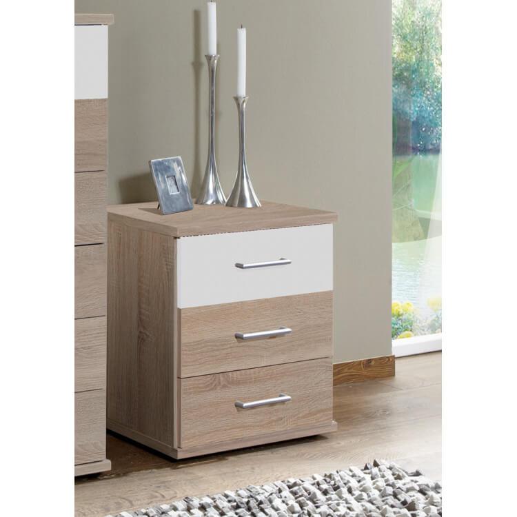 Meuble de rangement contemporain 3 tiroirs décor chêne/blanc Nadya