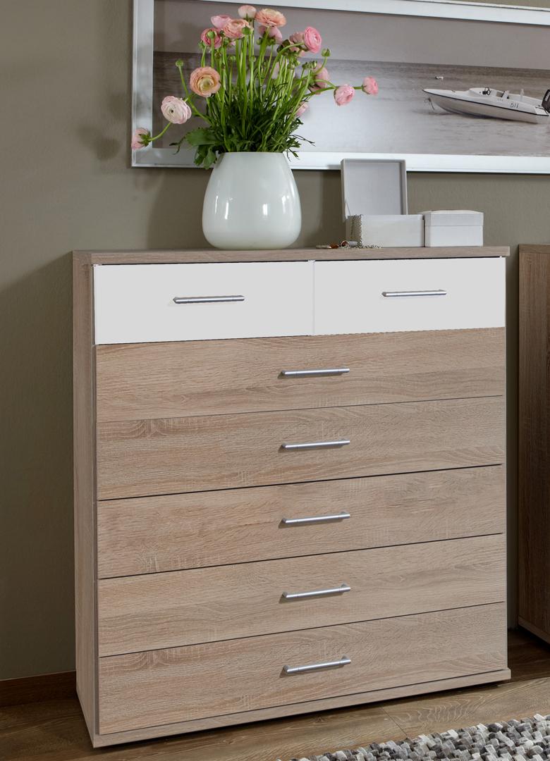 Commode haute contemporaine 7 tiroirs décor chêne/blanc Nadya