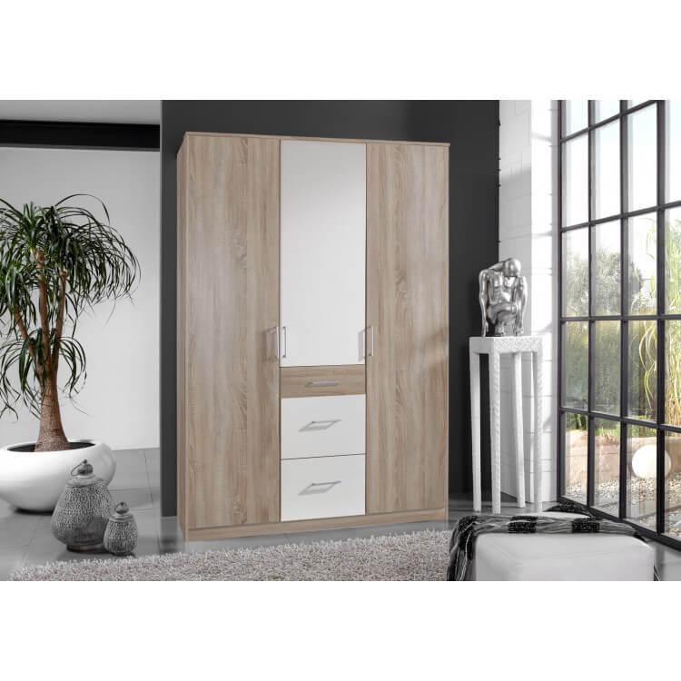 Armoire adulte contemporaine 3 portes/3 tiroirs décor chêne/blanc Nadya