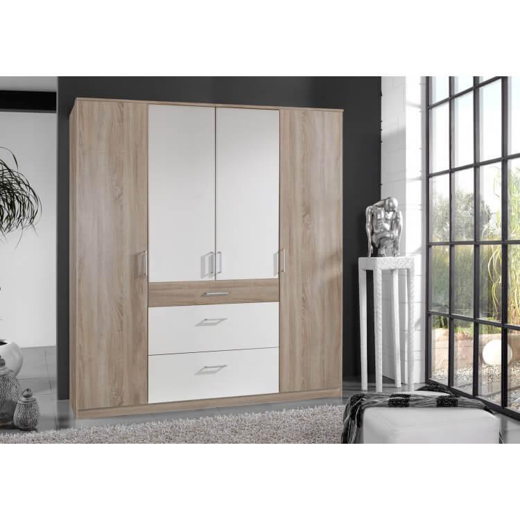 Armoire adulte contemporaine 4 portes/3 tiroirs décor chêne/blanc Nadya