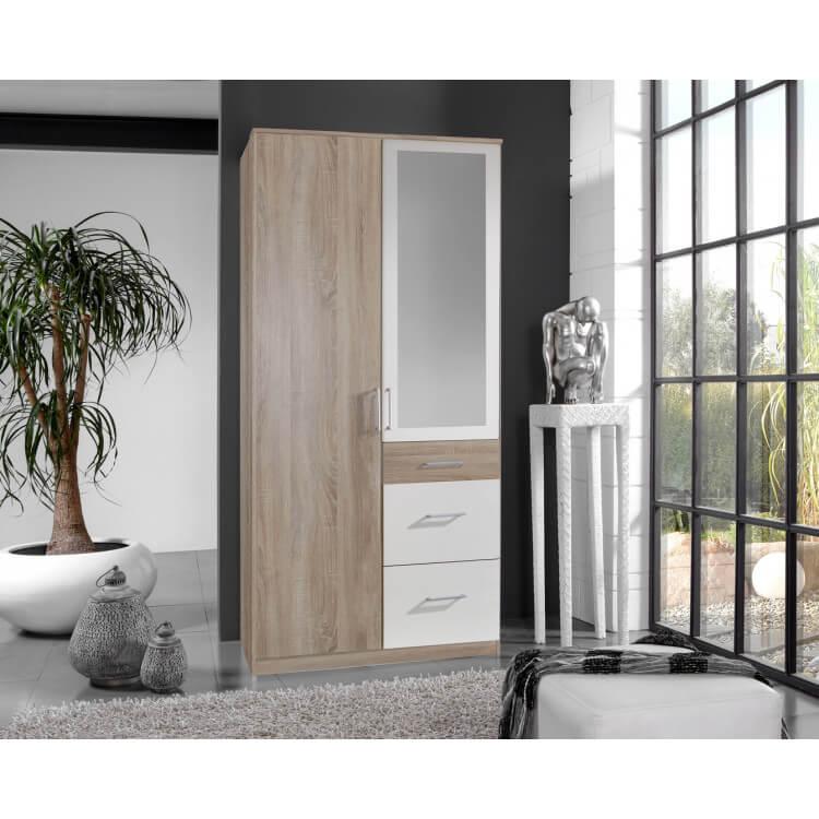 Armoire adulte contemporaine 2 portes/3 tiroirs avec miroir décor chêne/blanc Nadya