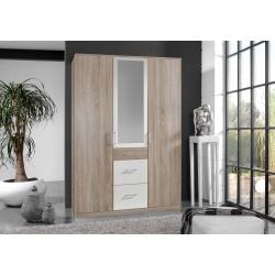 Armoire adulte contemporaine 3 portes/3 tiroirs avec miroir décor chêne/blanc Nadya
