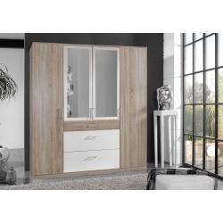 Armoire adulte contemporaine 4 portes/3 tiroirs avec miroir décor chêne/blanc Nadya