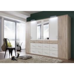 Armoire adulte contemporaine 270 cm avec miroir chêne/blanc Marissa