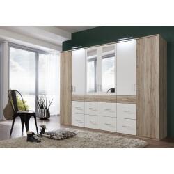 Armoire adulte contemporaine 270 cm avec miroir chêne/blanc Katerine