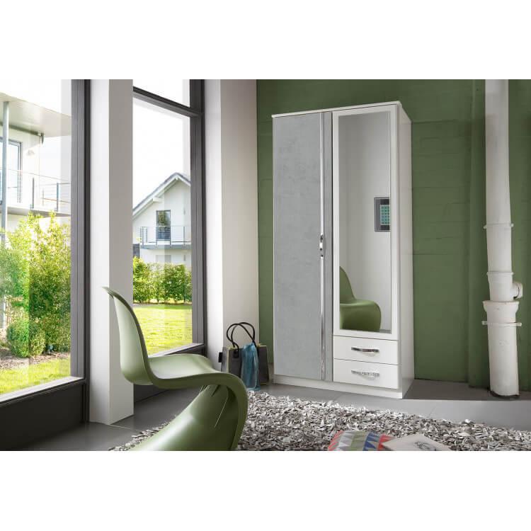 Armoire contemporaine 2 portes/2 tiroirs blanc/béton Colza