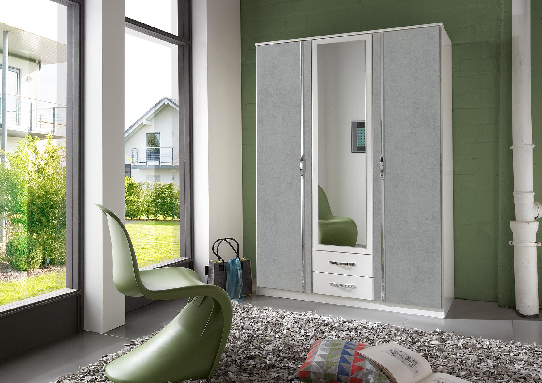 Armoire contemporaine 3 portes/2 tiroirs blanc/béton Colza