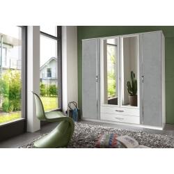 Armoire contemporaine 4 portes/2 tiroirs blanc/béton Colza