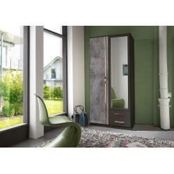 Armoire contemporaine 2 portes/2 tiroirs décor lave/béton Birman