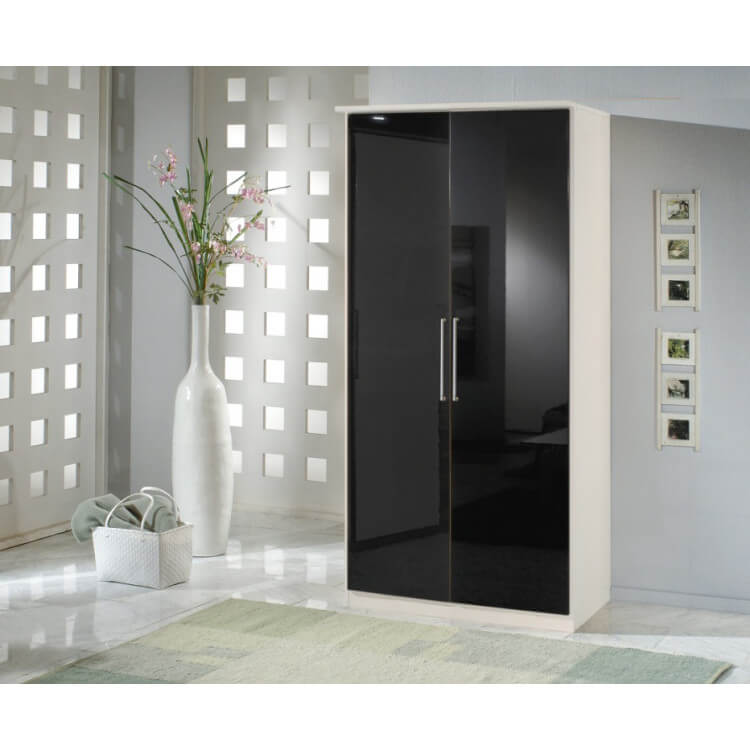 Armoire contemporaine 2 portes noir laqué/blanc Louise