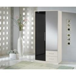 Armoire contemporaine 2 portes/2 tiroirs noir laqué/blanc Louise