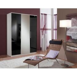 Armoire contemporaine 3 portes noir laqué/blanc Louise