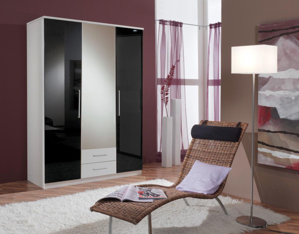 Armoire contemporaine 3 portes/2 tiroirs noir laqué/blanc Louise