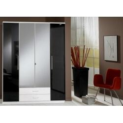 Armoire contemporaine 4 portes/2 tiroirs noir laqué/blanc Louise