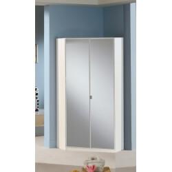 Armoire d'angle contemporaine avec miroir coloris blanc Louise