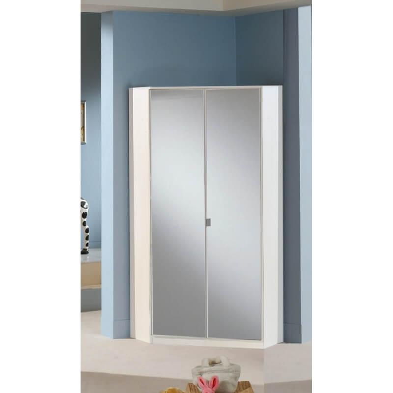 armoire d 39 angle contemporaine avec miroir coloris blanc. Black Bedroom Furniture Sets. Home Design Ideas